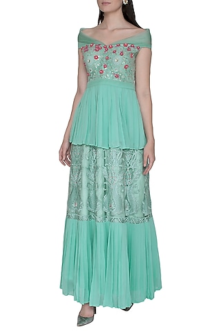 Turquoise Embroidered Off Shoulder Gown by Amit Sachdeva