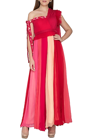 Red & Peach Embroidered Pleated Gown by Amit Sachdeva