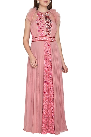 Blush Pink Embroidered Gown by Amit Sachdeva