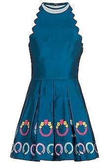 Teal Wreath Motifs Mini Dress by Amit Sachdeva