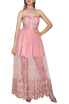 Pink Embroidered Corset Gown by Amit Sachdeva