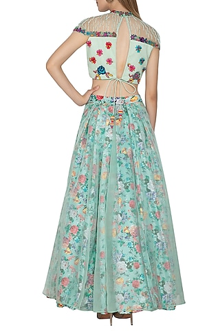 Blue Floral Printed & Embroidered Crop Top With Skirt by Amit Sachdeva