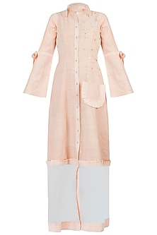 Peach embellished frills maxi dress by AMIT SACHDEVA