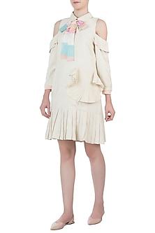 Ivory pearl tassels tie-up dress by AMIT SACHDEVA