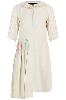 Ivory pearl tassels dress by AMIT SACHDEVA