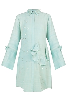 Mint green embellished dress by AMIT SACHDEVA