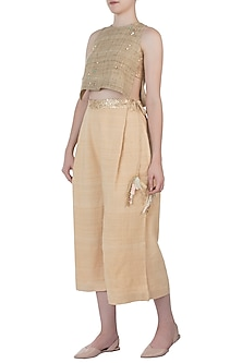 Gold embellished crop top by AMIT SACHDEVA