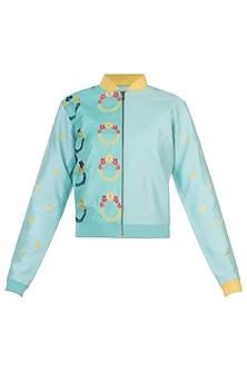 Turquoise wreath motifs bomber jacket by AMIT SACHDEVA