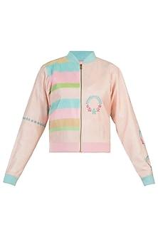 Powder pink wreath motifs bomber jacket by AMIT SACHDEVA