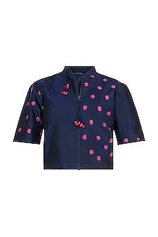Midnight blue floral motifs jacket by AMIT SACHDEVA