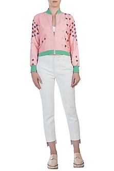 Powder pink floral motifs bomber jacket by AMIT SACHDEVA