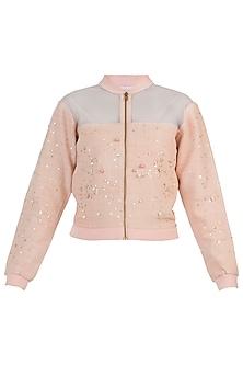 Peach embellished bomber jacket by AMIT SACHDEVA
