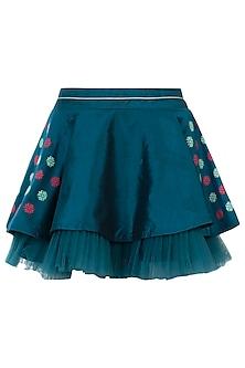 Teal circular pleated skirt by AMIT SACHDEVA