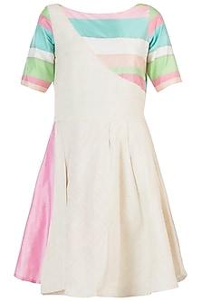 Ivory colour blocked dress by AMIT SACHDEVA