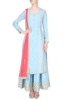 Pale Blue and  Red Embroidered Sharara Set by Amrita Thakur