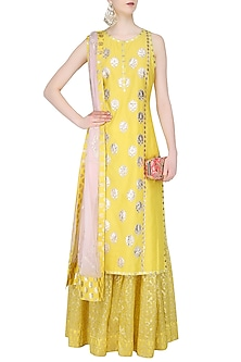 Yellow and  Powder Pink Embroiderd Sharara Set by Amrita Thakur