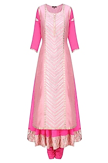 Pink and  Contrast Pale Pink Embroidered Layer Kalidaar Set by Amrita Thakur