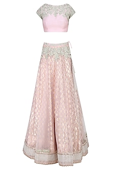 Light Pink and  Mint Green Embroidered Lehenga Set by Amrita Thakur
