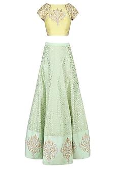 Yellow and  Mint Green Embroidered Lehenga Set by Amrita Thakur