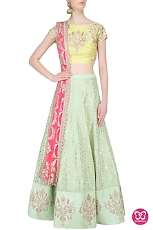 Yellow and  Mint Green Embroidered Lehenga Set by Amrita Thakur