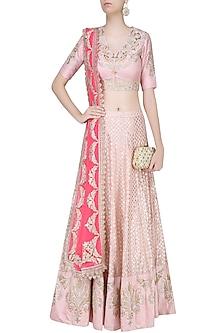 Pale Pink Embroidered Lehenga Set by Amrita Thakur