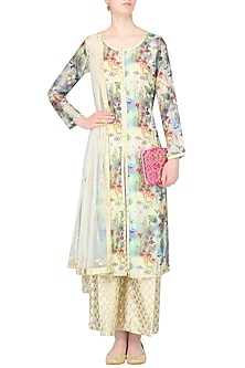 Pale Yellow Floral Printed Kurta Set With Brocade Palazzo Pants by Amrita Thakur