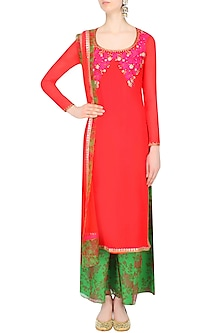 Red Resham Embroidered Kurta Set With Green Floral Printed Palazzo Pants by Amrita Thakur