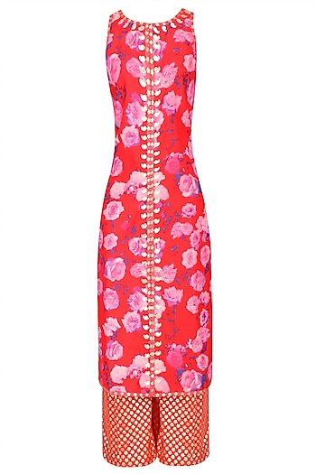Red Rose Printed Kurta Set With Brocade Palazzo Pants by Amrita Thakur