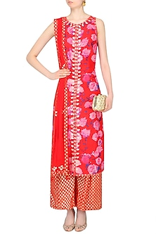 Red Rose Printed Kurta Set With Brocade Palazzo Pants by Amrita Thakur