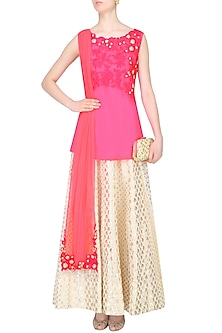 Pink Floral Embroidered High Low Kurta Set With Ivory Brocade Skirt by Amrita Thakur
