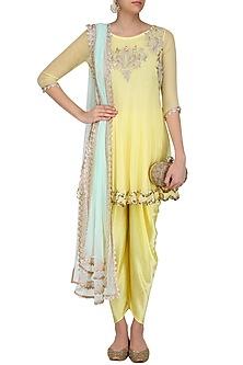 Pale Yellow Tissue Brocade Work Short Anarkali Kurta and Dhoti Pants Set by Amrita Thakur