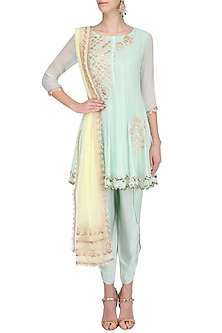 Soft Blue Tissue Brocade Work Short Anarkali Kurta and Dhoti Pants Set by Amrita Thakur