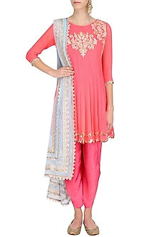 Coral Tissue Brocade Work Short Anarkali Kurta and Dhoti Pants Set by Amrita Thakur
