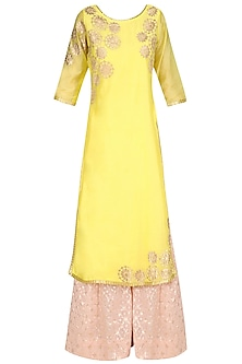 Yellow Tissue Brocade Work Long Kurta and Sharara Pants Set by Amrita Thakur