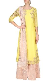Yellow Tissue Brocade Work Long Kurta and Sharara Pants Set by Amrita Thakur