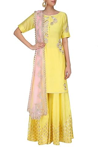 Yellow Tissue Brocade Work Short Kurta and Sharara Pants Set by Amrita Thakur