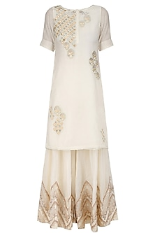 Ivory Tissue Brocade Work Short Kurta and Sharara Pants Set by Amrita Thakur