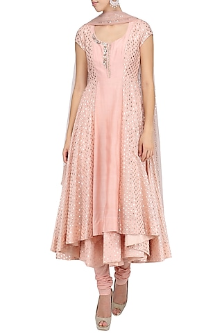 Onion Pink Embroidered Anarkali Set by Amrita Thakur