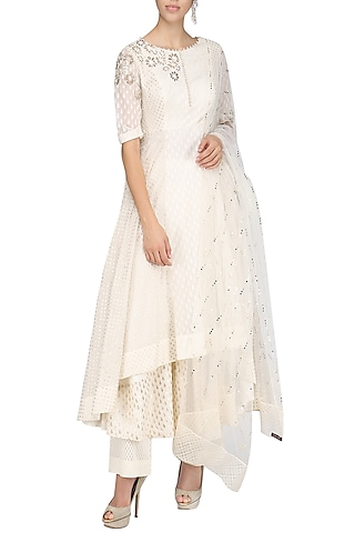 Ivory Embroidered Anarkali Set by Amrita Thakur
