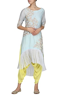 Pale Blue Embroidered Kurta with Yellow Dhoti Pants by Amrita Thakur