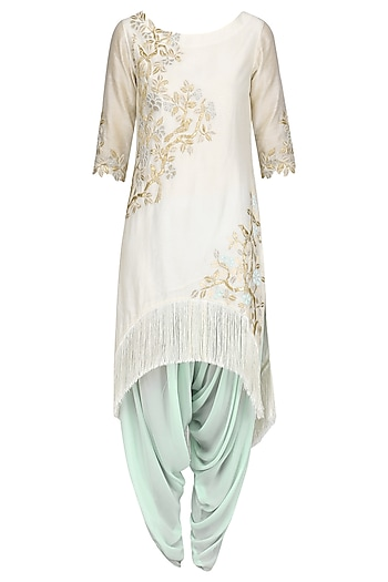 Ivory Embroidered Kurta with Powder Green Dhoti Pants by Amrita Thakur