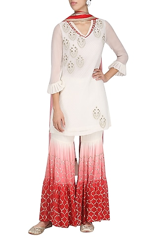 Ivory and Red Embroidered Kurta with Gharara Pants Set by Amrita Thakur