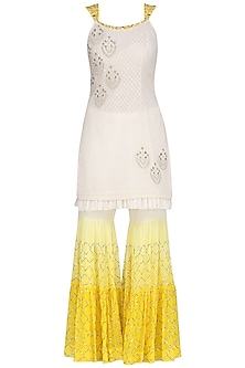 Ivory and Yellow Embroidered Kurta with Gharara Pants Set by Amrita Thakur