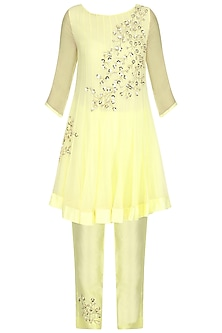 Pale Yellow Embroidered Kurta with Pants Set by Amrita Thakur