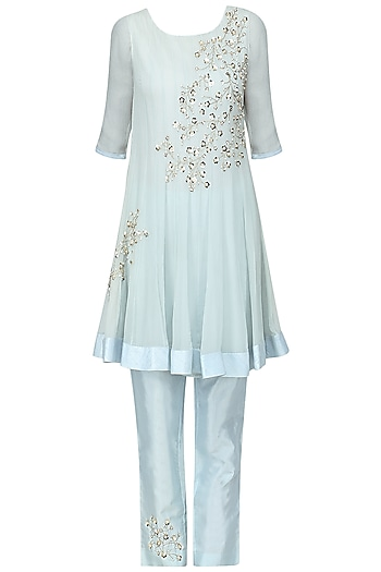 Pale Blue Embroidered Kurta with Pants Set by Amrita Thakur