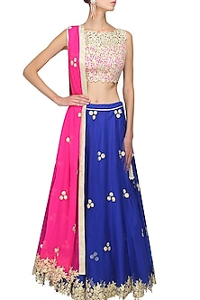 Royal blue gota patti work lehenga and pink blouse set by Amrita Thakur