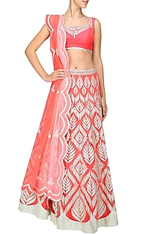 Coral gota patti embroidered lehenga set by Amrita Thakur