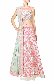 Pale pink gota patti embroidered lehenga set by Amrita Thakur