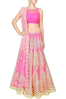Bright pink gota patti embroidered lehenga set by Amrita Thakur