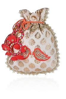 Ivory And Orange Floral And Bird Embroidered Chanderi Brocade Polti Bag by Amrita Thakur
